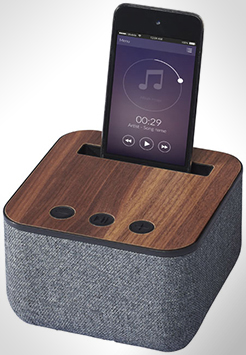 Shae Fabric And Wood Bluetooth Speaker thumbnail