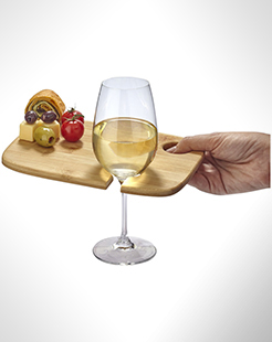 Mill Wooden Appetiser Board With Wine Glass Holder thumbnail
