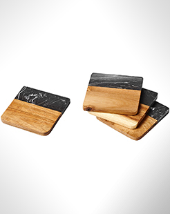 Harlow Marble And Wood Coasters thumbnail