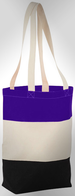 Colour-Block 227 G/M Cotton Tote Bag thumbnail