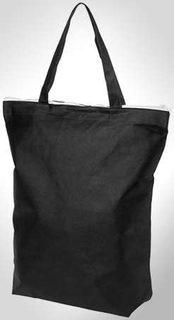 Privy Zippered Short Handle Non-Woven Tote Bag thumbnail