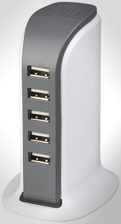 Tower Desktop Ac Adapter With 5 Usb Ports thumbnail