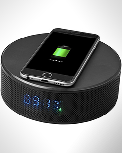 Circle Wireless Charging Alarm Clock Speaker thumbnail