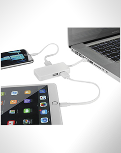 Grid 4-Port Usb Hub With Dual Cables thumbnail