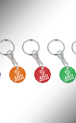 Antimicrobial Trolley Coin Keyring - Colour thumbnail