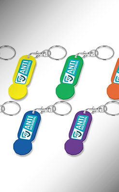Antimicrobial Trolley Stick Oblong Keyring - Colour thumbnail